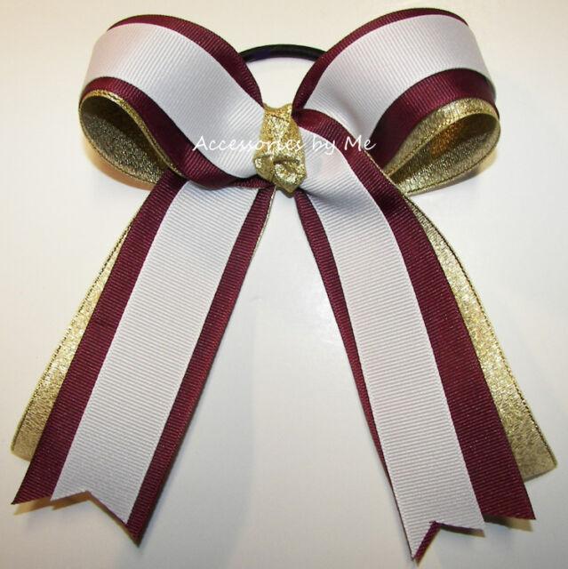 Maroon Gold White Ponytail Holder Bow Cheer Cheerleader Football FSU MSU Spirit