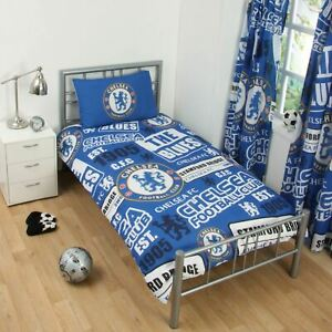 Chelsea-Fc-039-Empiecement-039-Set-Housse-de-Couette-Simple-Neuf-Football