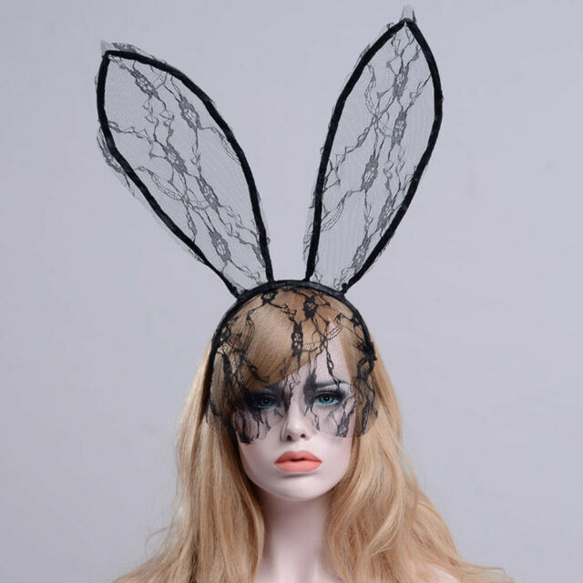 Black Lace Bunny Ears Floral Lace Halloween Cosplay Headband Fingerless Gloves