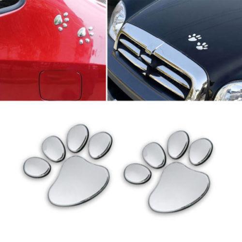 3D Car Sticker Dog Bear Footprints Dog Paw Chrome Badge Emblem Car Sticker Decal