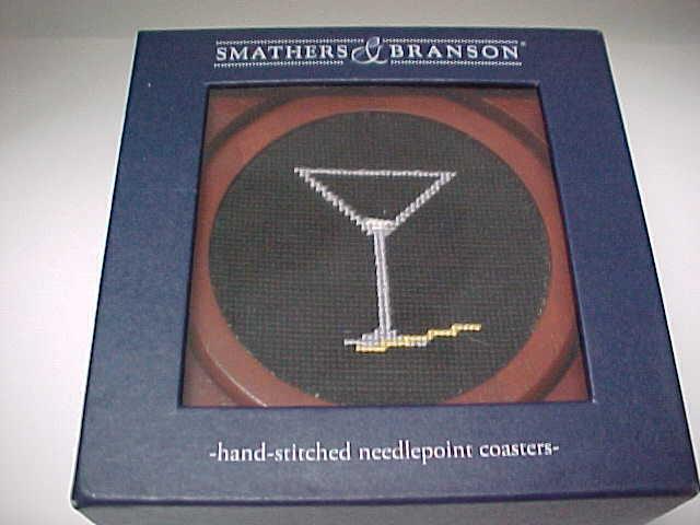 SMATHERS & BRANSON Martini verres broderie cousue main en bois sous-verre