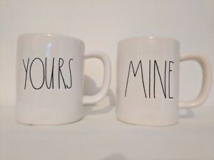 802a106d614 Details about RAE DUNN by Magenta Artisan Collection Coffee Mug Set of 2  YOURS & MINE *NEW*
