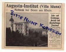 MEHLEM, Werbung 1913, Augusta-Institut Villa Iduna Lehr-Erziehungs-Anstalt Pensi