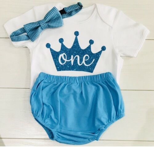 Boys First 1st Birthday Outfit Cake Smash Set Shorts Top Bow Tie Bright Blue