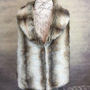 Brown Vest Fur Creme Størrelse Blød Faux Cashmere Blend L Woodland Woman's 0tqwA44