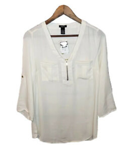 New-Rue-21-Blouse-Top-Shirt-Ivory-Womens-Small-V-Neck-Tab-Sleeves-Career-Wear