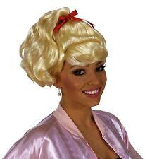 Ladies Blonde Sandy Grease Wig High School 50s Fancy Dress Olivia Pink Lady
