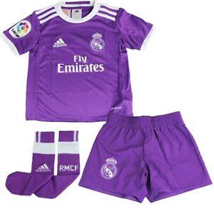 731216630 adidas Childrens Kids Football Soccer Real Madrid Away Mini Kit 2016-17 3-4