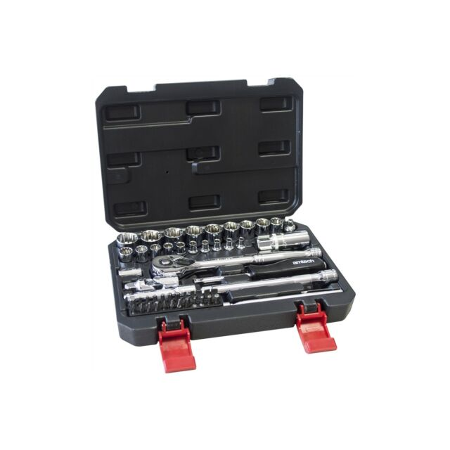 "Socket Set Ratchet Tool Bit Set 52PC 1//4/"" /& 3//8/"" 12 point Extension Bar /& Case"