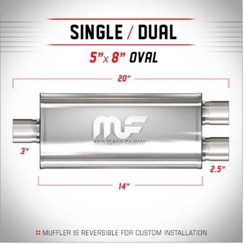 """Magnaflow 12198 3/"""" 3 Inch Inlet Dual 2.5/"""" 2-1//2/"""" Outlet Stainless Steel Muffl"""