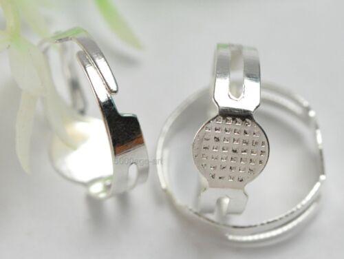 free ship 50pcs Silver Plate charm Adjustable Ring Base 18mm