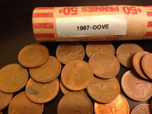 ^^ 1967 Dove ^^ Solid Date Roll of circulated Canada Pennies discontinued