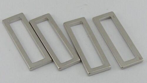 07.37 NEU ! 8 Rechteckringe Schlaufen Ringe 35mm silber rostfrei !