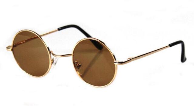 f97dfd521 John Lennon Sunglasses Round Hippie Shades Retro Smoked Lenses Gold Metal