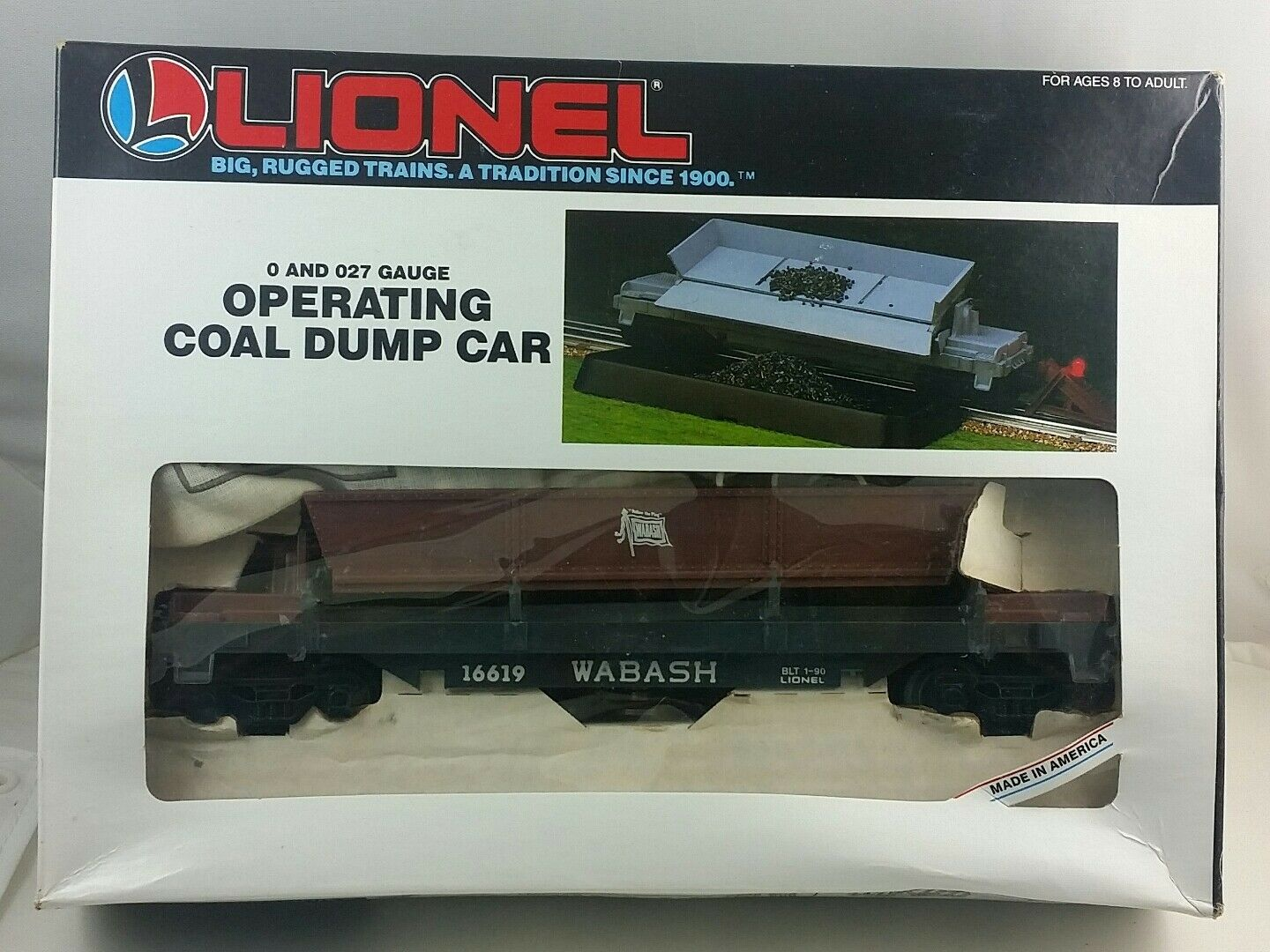 Vintage 1986 Lionel Wabash 6-16619 Operating Coal Dump Car, Made in USA, New