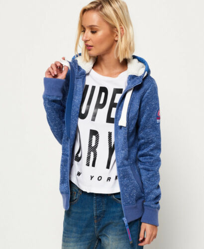 Neuer Damen Superdry Storm Kapuzenjacke Blau Meliert