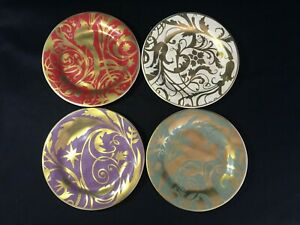 POTTERY-BARN-Set-of-4-034-Florentine-034-Gold-Red-Green-Purple-Floral-amp-Bird-Plates