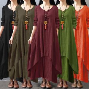 Details about Plus Size Women Long Sleeve Maxi Dress Loose Kaftan Ladies  Long Tunic Dress J5X6