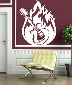 Wall Sticker Vinyl Decal Guitar Music Jazz Blues Fire Rock 39 N 39 Roll N063 Ebay