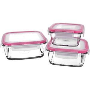 3er Set Vorratsdosen aus Glas, quadratisch mit Kunststoff- Deckel