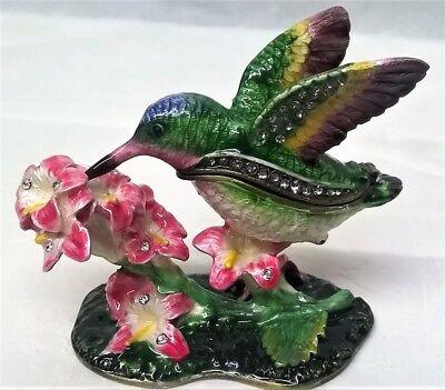 Art Gift Hummingbird on Flower Porcelain Hinged Trinket Box
