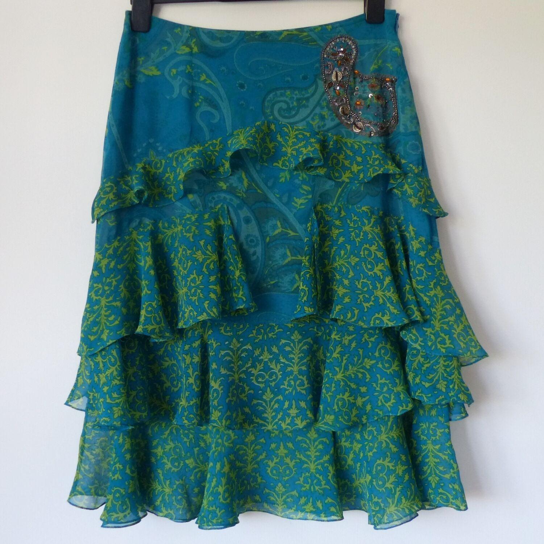 Immaculate Karen Millen Turquoise & Green Ruffled Skirt, Size Worn Twice