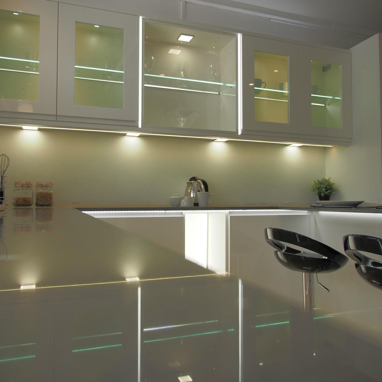 Square Flat Panel Led Kitchen Under Cabinet Light Cupboard Shelf Slim Cool White