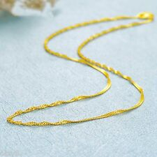 Solid Pure 999 24K Yellow Gold Chain Women's Singapore Link Necklace 16inch