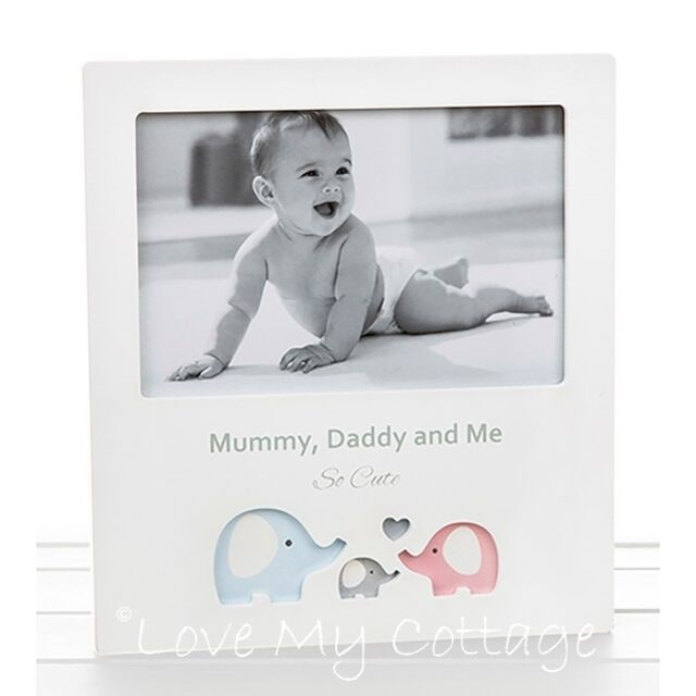Mummy Daddy & Me Family Portrait Picture Photo Frame Little Elephant ...