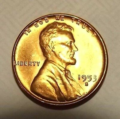 """1953-S Lincoln Wheat 1c STUNNING GEM BU//RED~from OBW roll/"""".99 ships+we combine"""