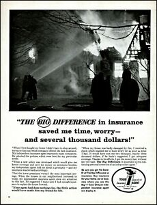1961 Firefighters house fire Independent insurance vintage photo print ad adl80