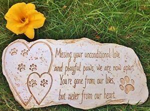 Memorial Stone Marker Dog Cat Outdoor Pet Headstone Tombstone Weatherproof
