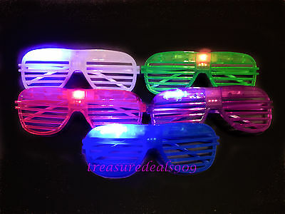5 PCS LIGHT UP SHUTTER GLASSES FLASHING LED SUN GLASS BLINKING RAVE PARTY EDC