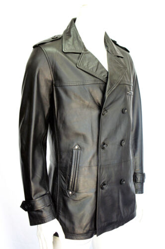 Prague Coat Sheep Pea Leather Mens Gents Real Jacket Style Reefer Black Classic rz1rOaq