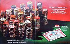 Vintage 1967 'BUDWEISER' Lager Beer ADVERT (Bottle Tops) #8 - Original Print Ad