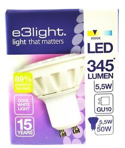 e3light GU10 LED Bulb Warm White 2700K 345 Lumens 5.5W Dimmable 10 pack