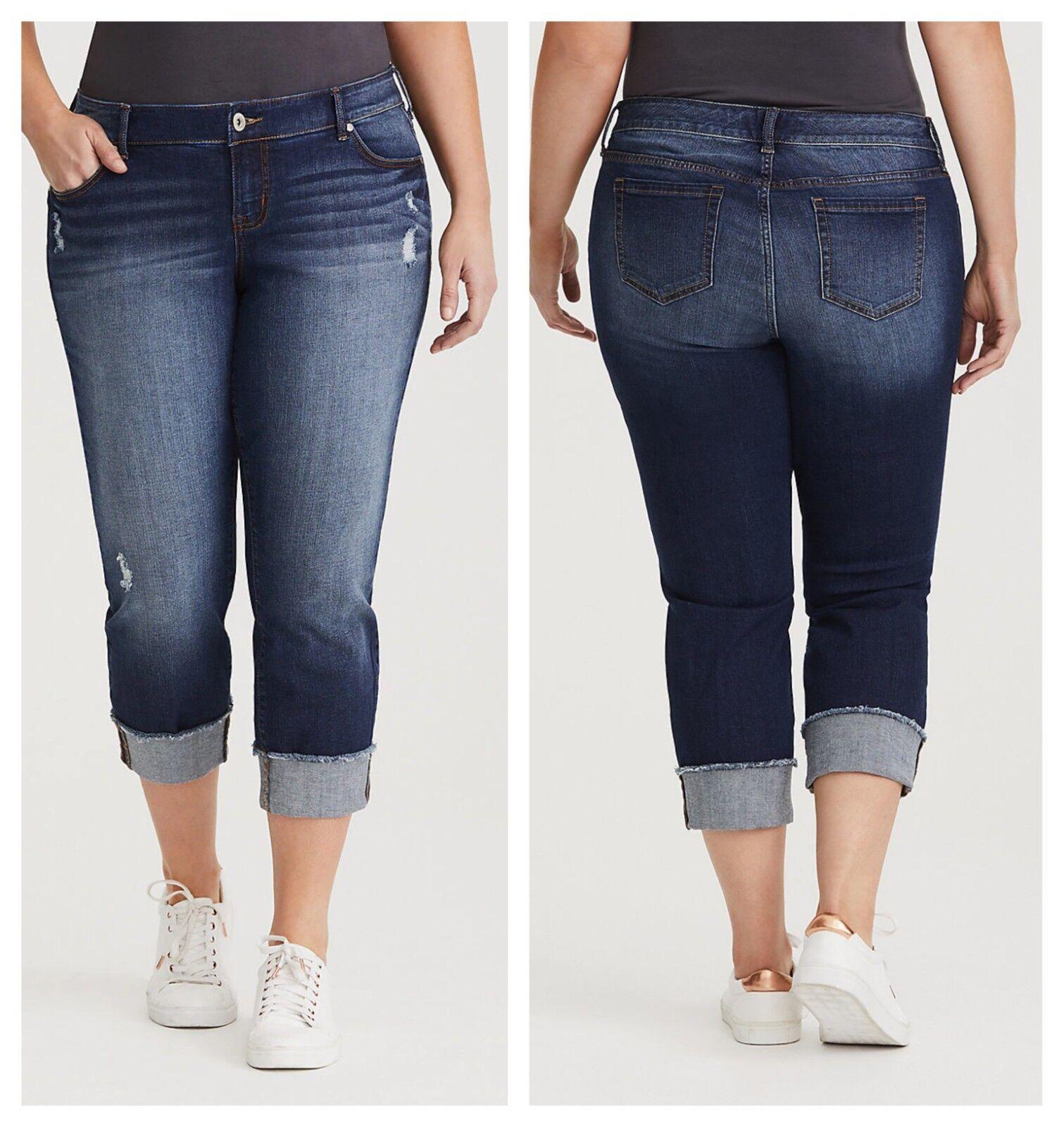 Torrid Crop Boyfriend Pacific Distressed Medium Wash jeans 3X 24