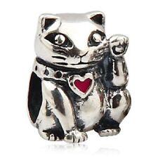 Cat Red Heart Luck Genuine 925 Sterling Silver Charm Bead Fits European Bracelet