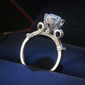 Image Is Loading 925 Silver Round Cut White Topaz Wedding Engagement