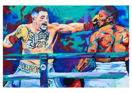 Andy Ruiz vs Anthony Joshua Mexican champion print 18x12 original by Xilberto