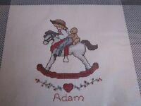 Cross Stitch Kit Alma Lynne Sweet Rocking Horse Child Cowboy Old Fashioned