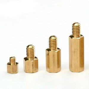 M3 M4 Hex Tapped Copper Brass Stand Off Screw Spacer Pillar Male-Female Threaded