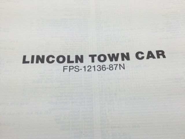 1987 Lincoln Town Car Vacuum And Wiring Diagrams Ford