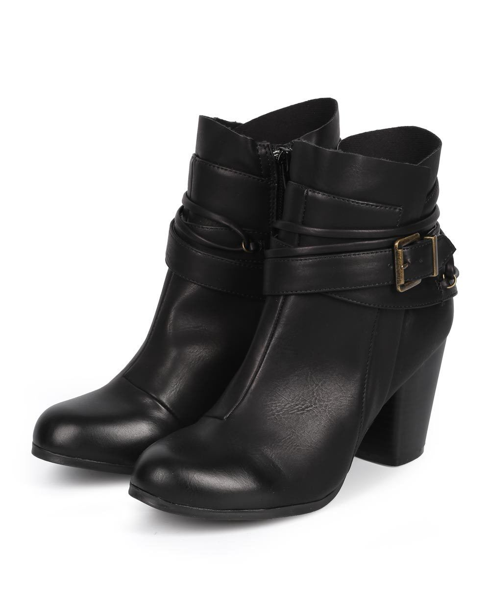 New Women Qupid Sake-49 Leatherette Strappy Chunky Heel Zip Riding Bootie Size