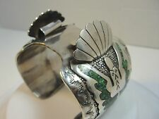 Man's Southwestern .925 Sterling Silver Turquoise & Coral Watch Cuff  130g