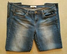 Very Nice FOREVER 21 Womens Ankle Skinny Jeans 34X29 DISTRESSED Dark wash zipper