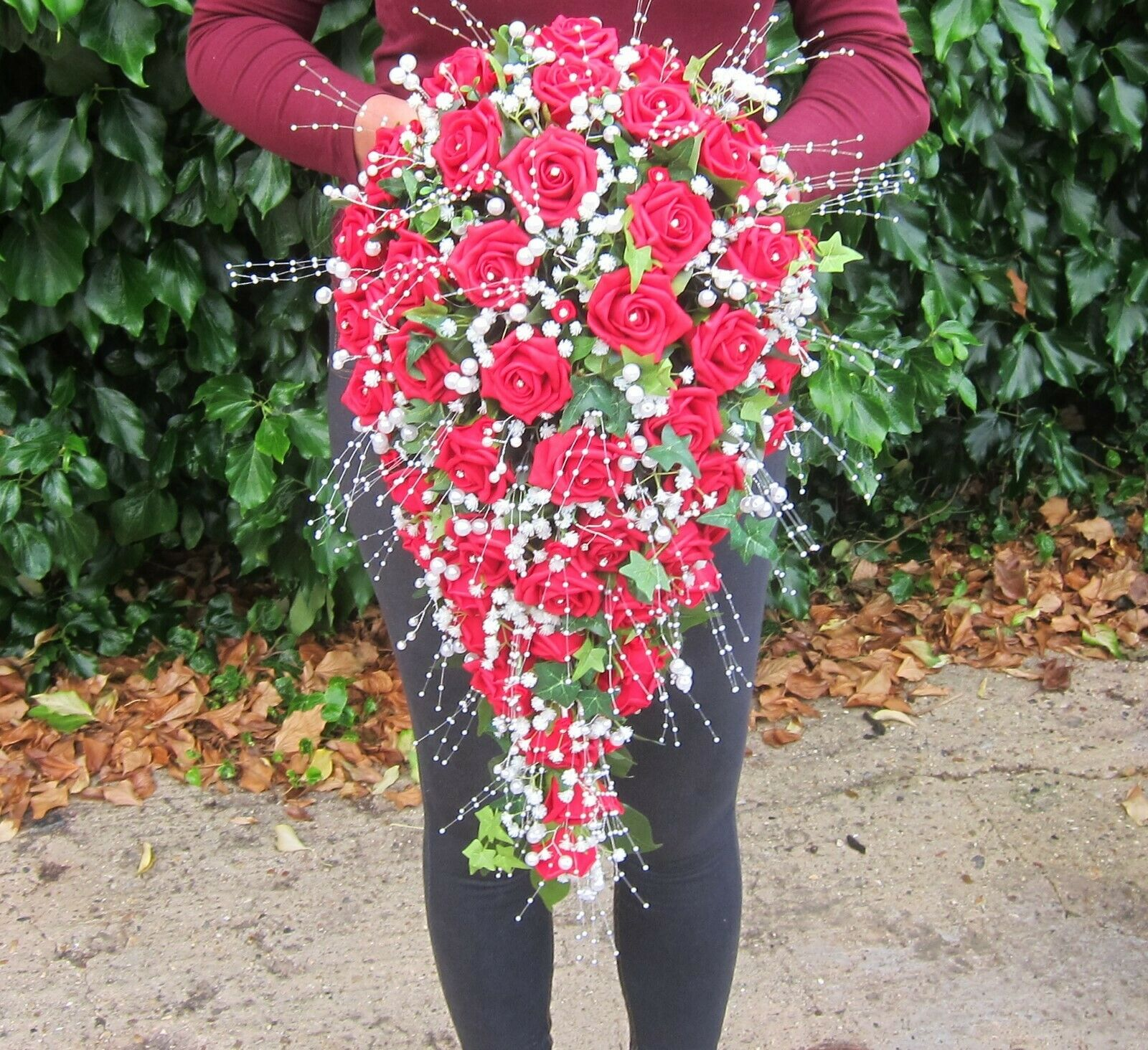 Douche Teardrop Posy mariée ROSE, STRASS & PERLES Mariage Indien Asiatique Bouquet