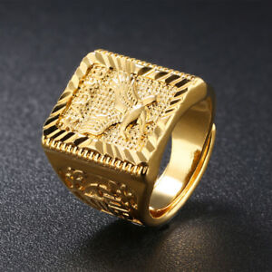 Eagle Men S Ring Gold Adjustable Chinese Letter Jewelry Finger