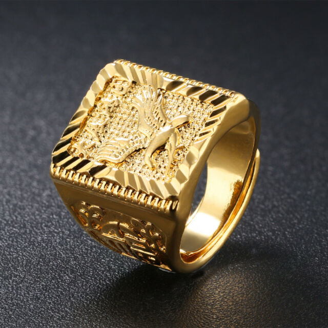 Eagle Men S Ring Gold Adjule Chinese Letter Jewelry Finger Bands Never Fade
