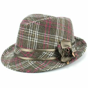 Tweed Trilby Fedora Hat GREY PINK Wool Hawkins Fabric Men Ladies ... 67f71bd0775e